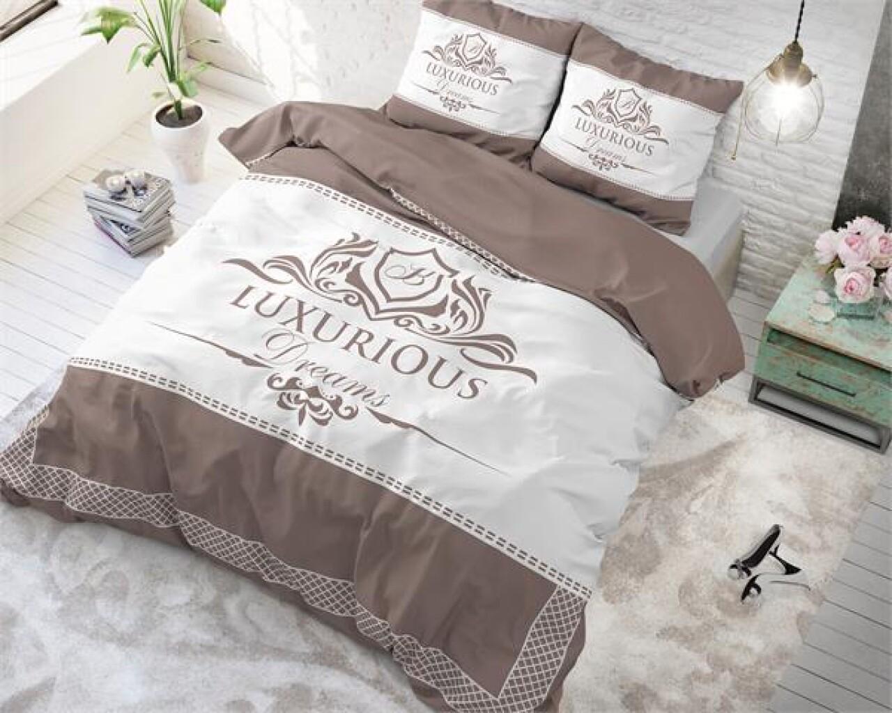 Lenjerie de pat dubla Luxurious Taupe, Royal Textile, 3 piese, 200 x 220 cm, 100% bumbac, taupe