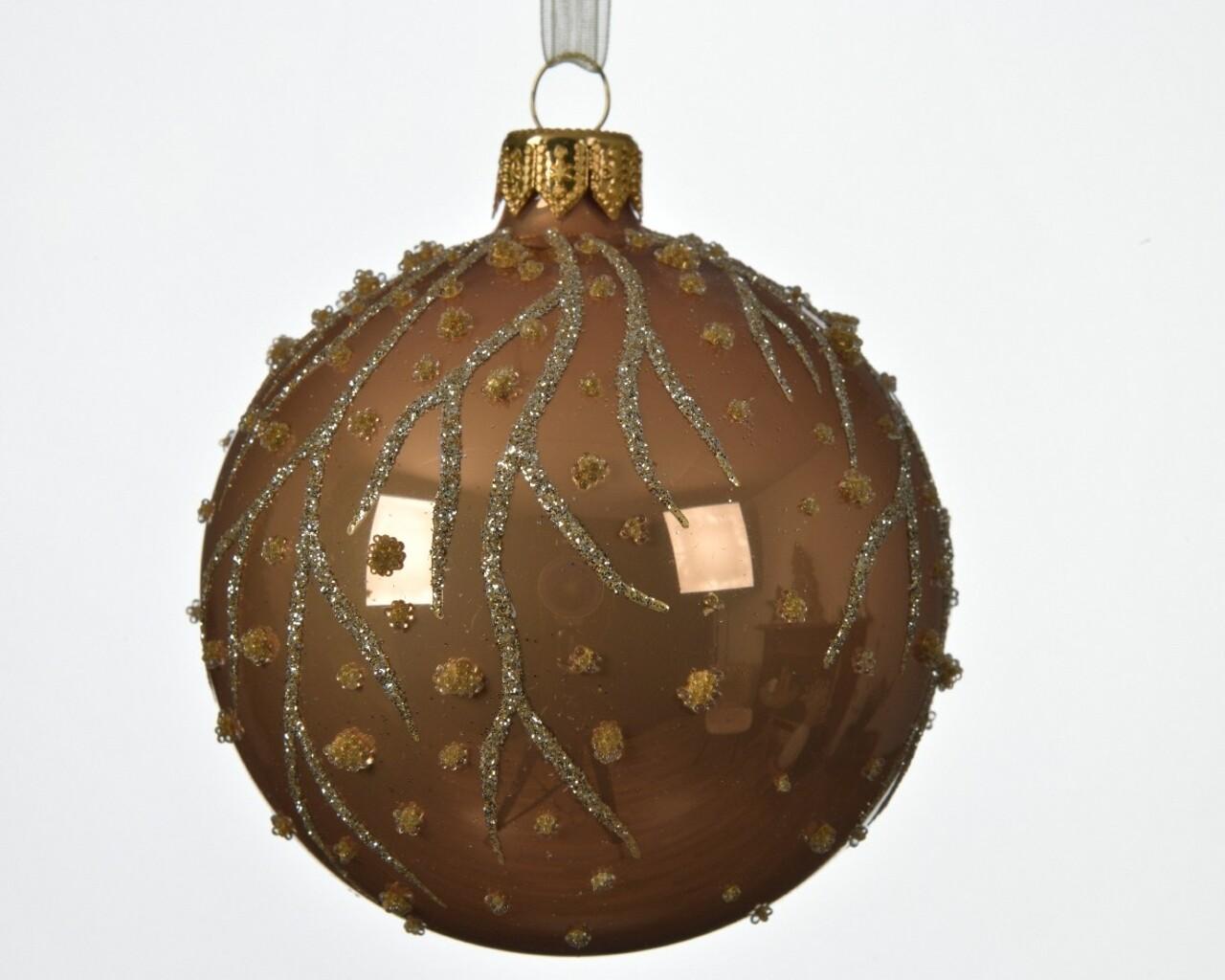 Glob, Decoris, Branch dots, Ø8 cm, sticla, maro/auriu