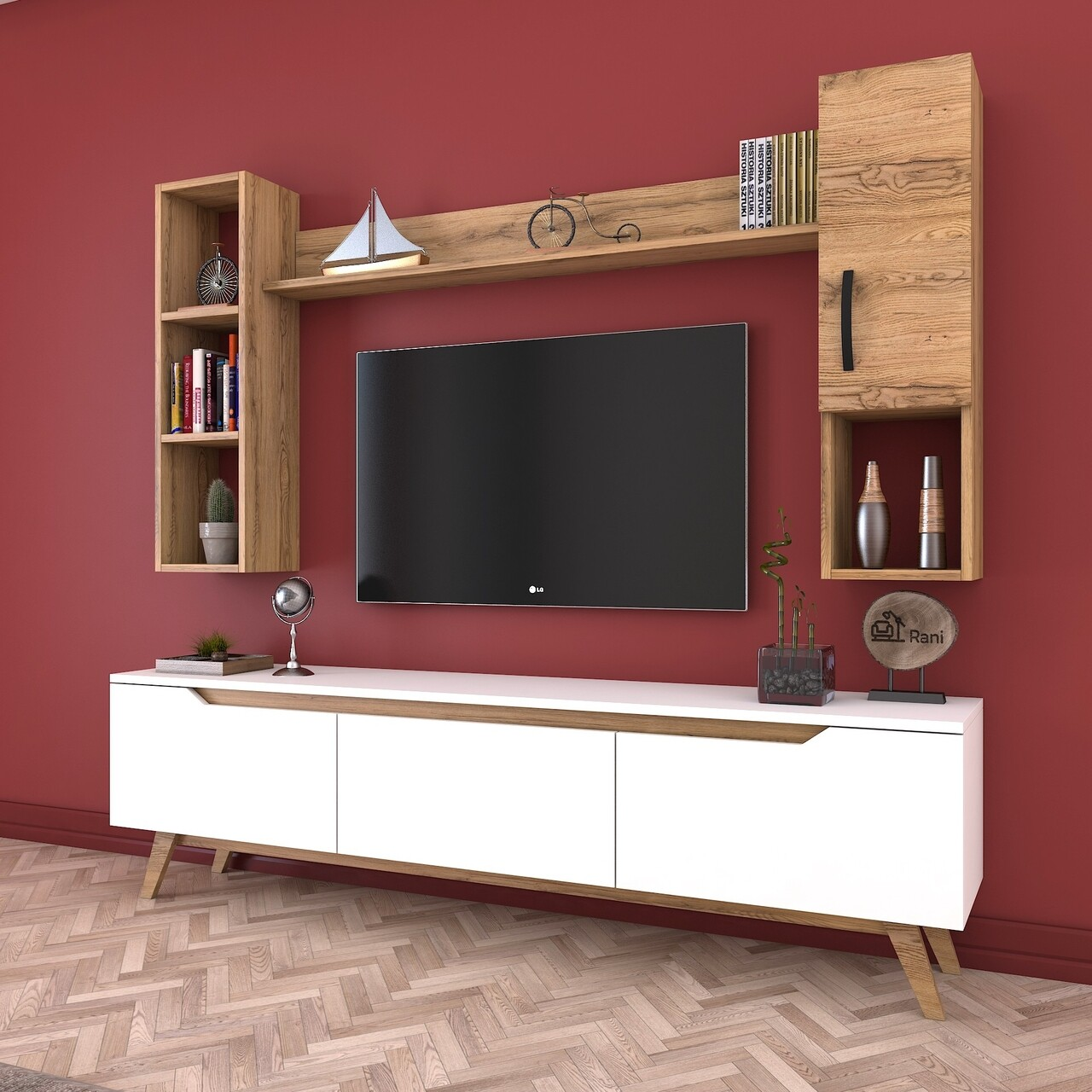 Comoda TV cu 2 rafturi de perete si cabinet M12 - 386, Wren, 180 x 35 x 48.6 cm/90 cm/133 cm, white/walnut