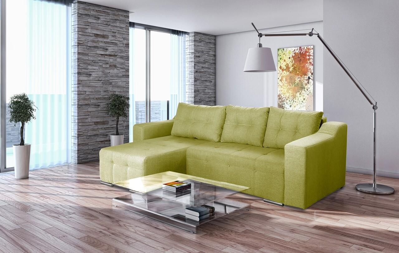 Coltar extensibil Verona Verde 287x169x96 cm cu lada de depozitare