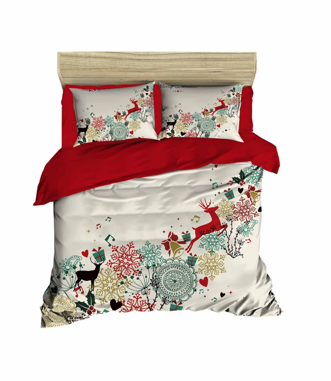 Lenjerie de pat pentru doua persoane, Pearl Home, 451, print 3D, policoton, 4 piese, rosu/alb/verde