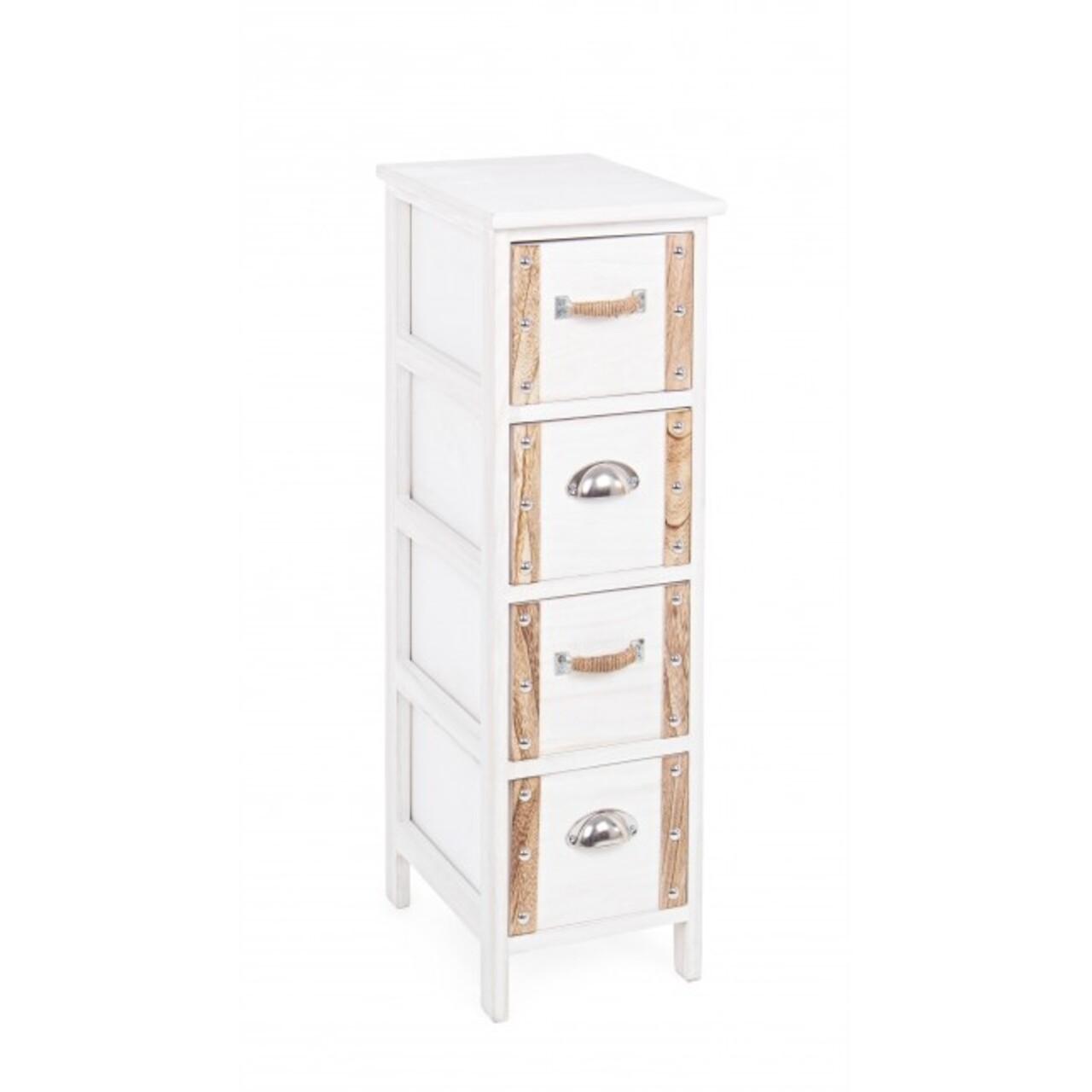 Comoda cu 4 sertare, Romance, Bizzotto, 26x32x81 cm, lemn de paulownia
