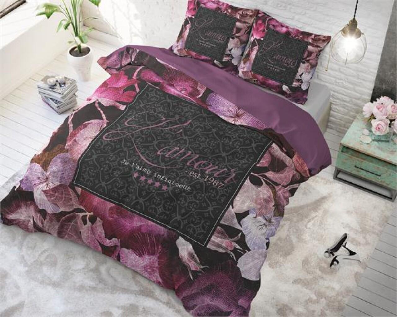 Lenjerie de pat pentru doua persoane Vintage Amour Black, Royal Textile,100% bumbac