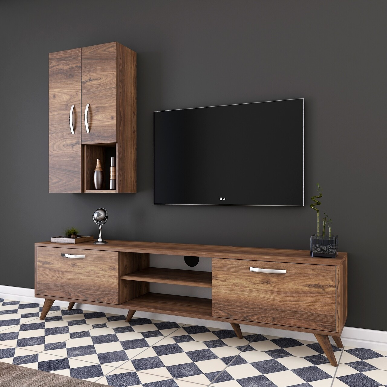 Comoda TV cu 2 cabinete M43 - 313, Wren, 180 x 35 x 48.6 cm/90 cm, walnut