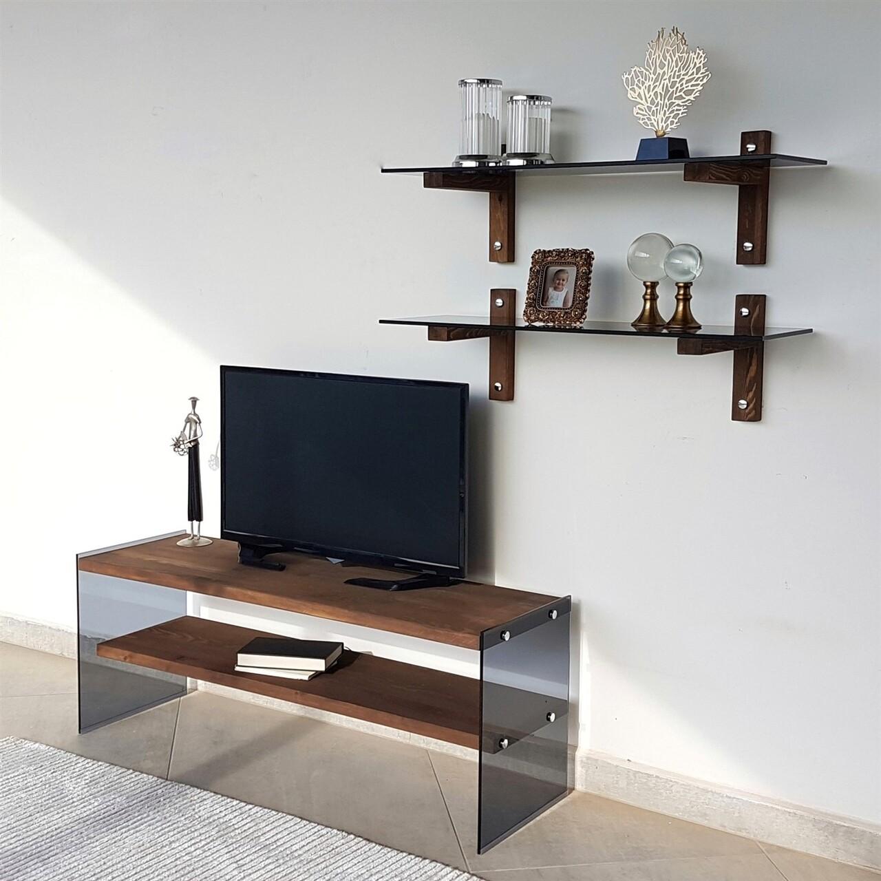 Comoda TV cu rafturi de perete Neostill TV102, 120 x 45 cm/85 x 25 cm, walnut