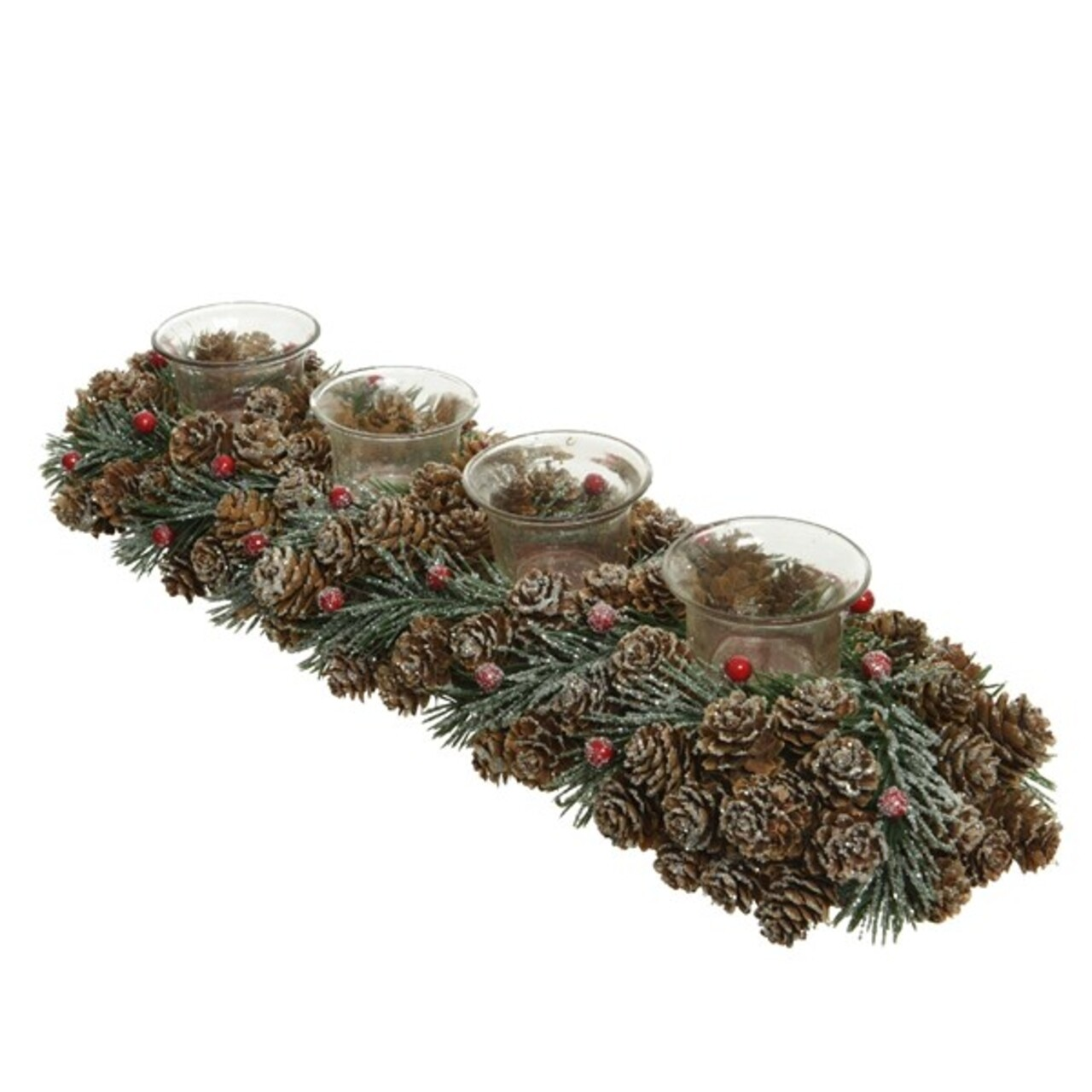 Decoratiune cu 4 suporturi pentru lumanari Pinecone w berries, Decoris, 13x47x9 cm,verde/maro/rosu