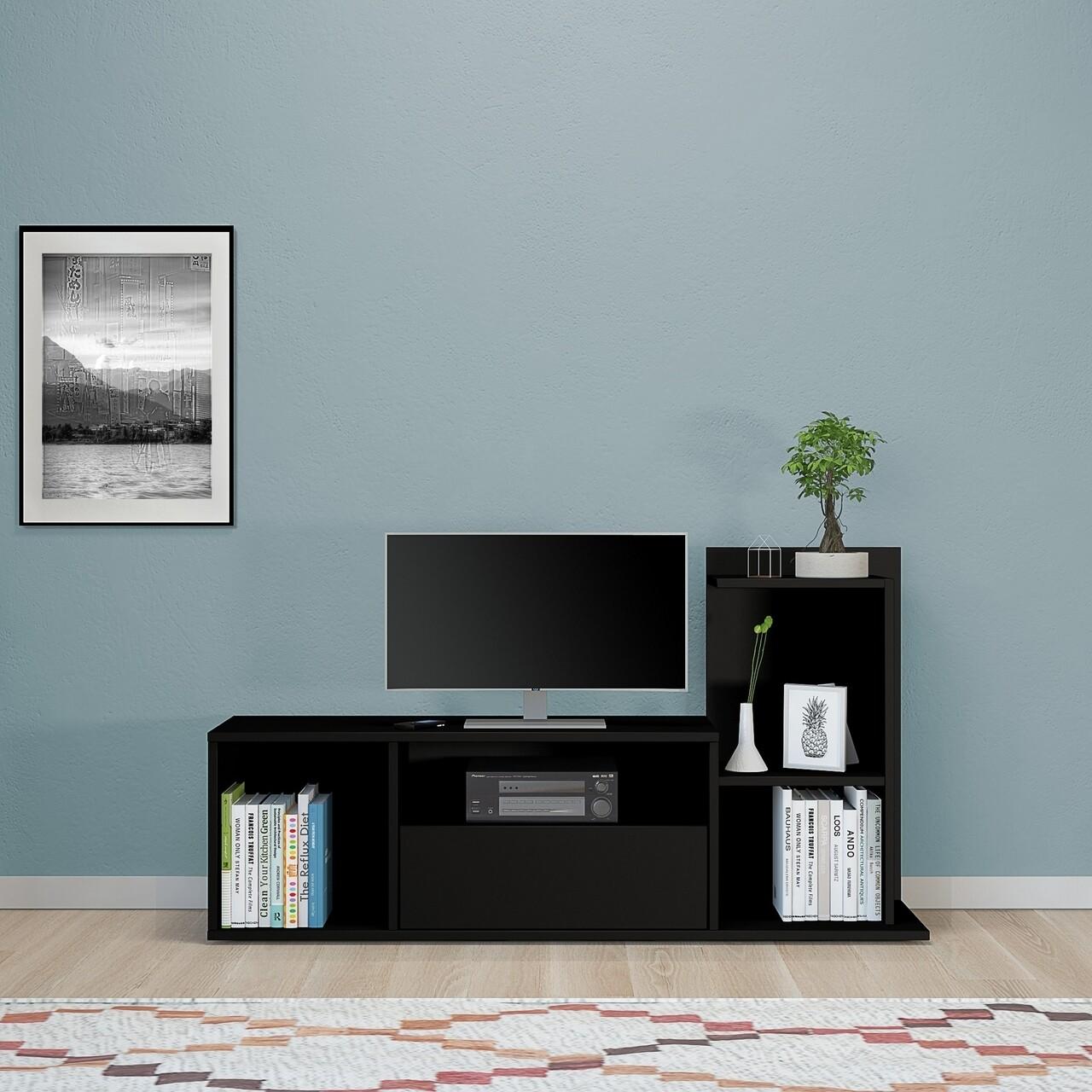 Comoda TV cu raft de perete Sumatra, Homemania, 120 x 30 x 65 cm, negru