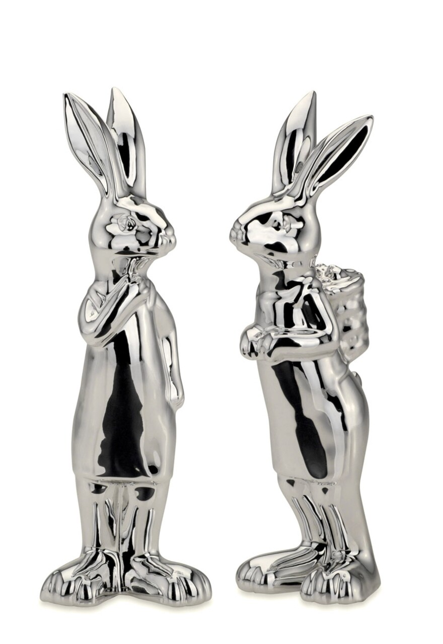 Set 2 decoratiuni Rabbits, Hermann Bauer, H-18 cm, portelan, argintiu