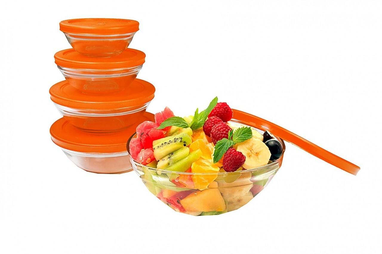 Set 5 caserole de sticla Jocca Orange Lid