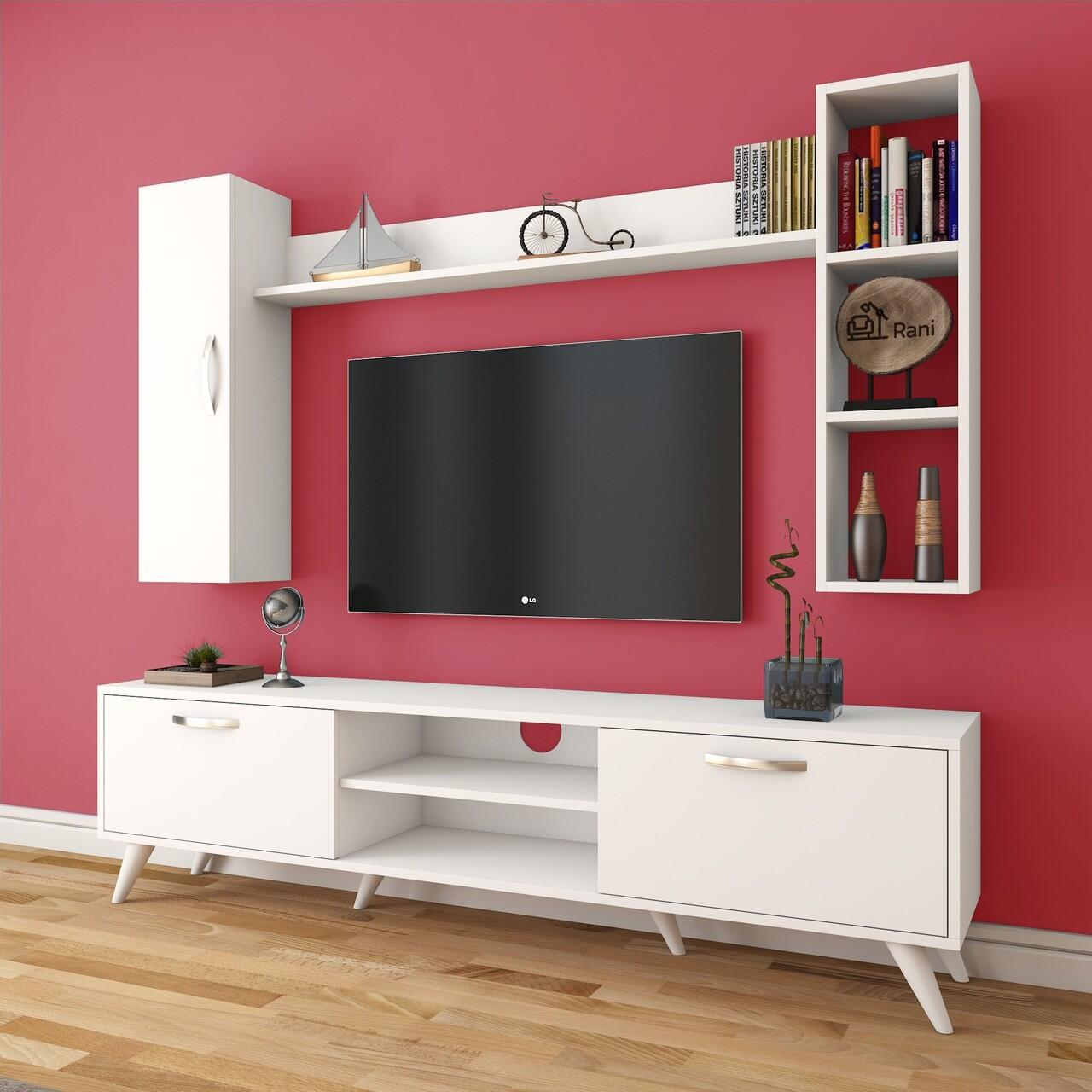 Comoda TV cu 2 rafturi de perete si cabinet M13 - 255, Wren, 180 x 35 x 48.6 cm/90 cm/133 cm, white