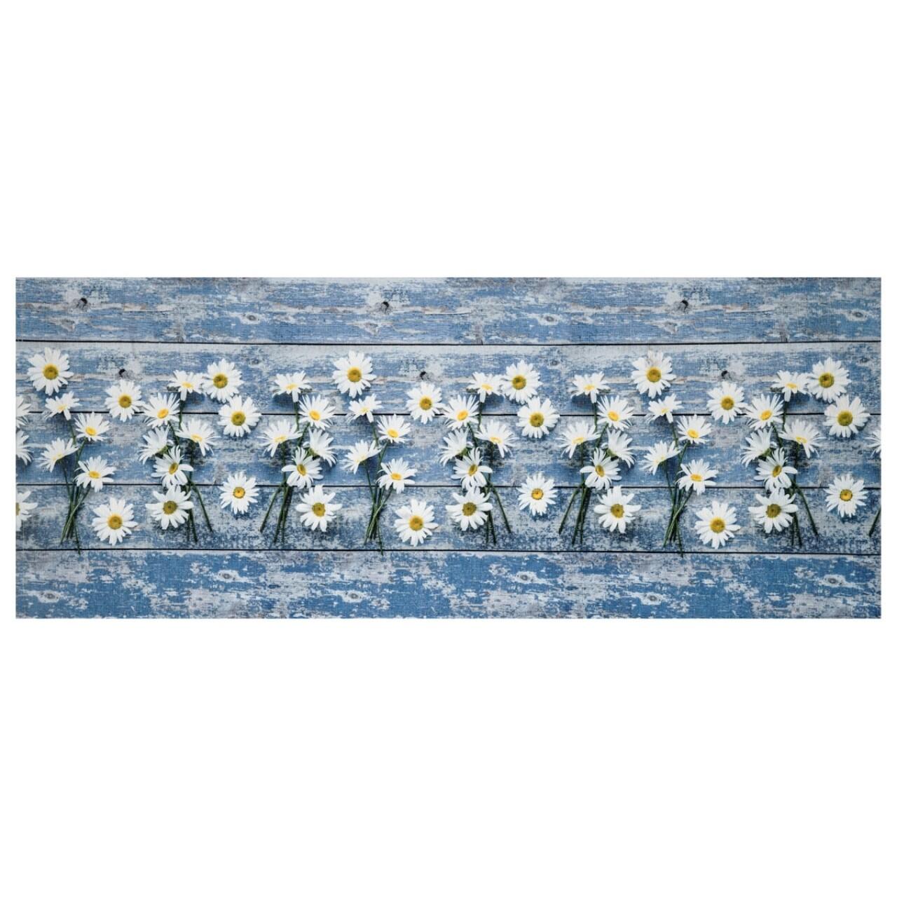 Covor rezistent Webtappeti Camomilla 58 x 240 cm, albastru/alb