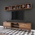 Comoda TV cu 2 rafturi M7 - 244, Wren, 180 x 35 x 48.6 cm/90 cm, walnut/white
