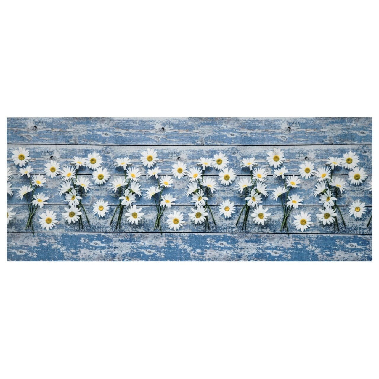 Covor rezistent Webtappeti Camomilla 58 x 140 cm, albastru/alb