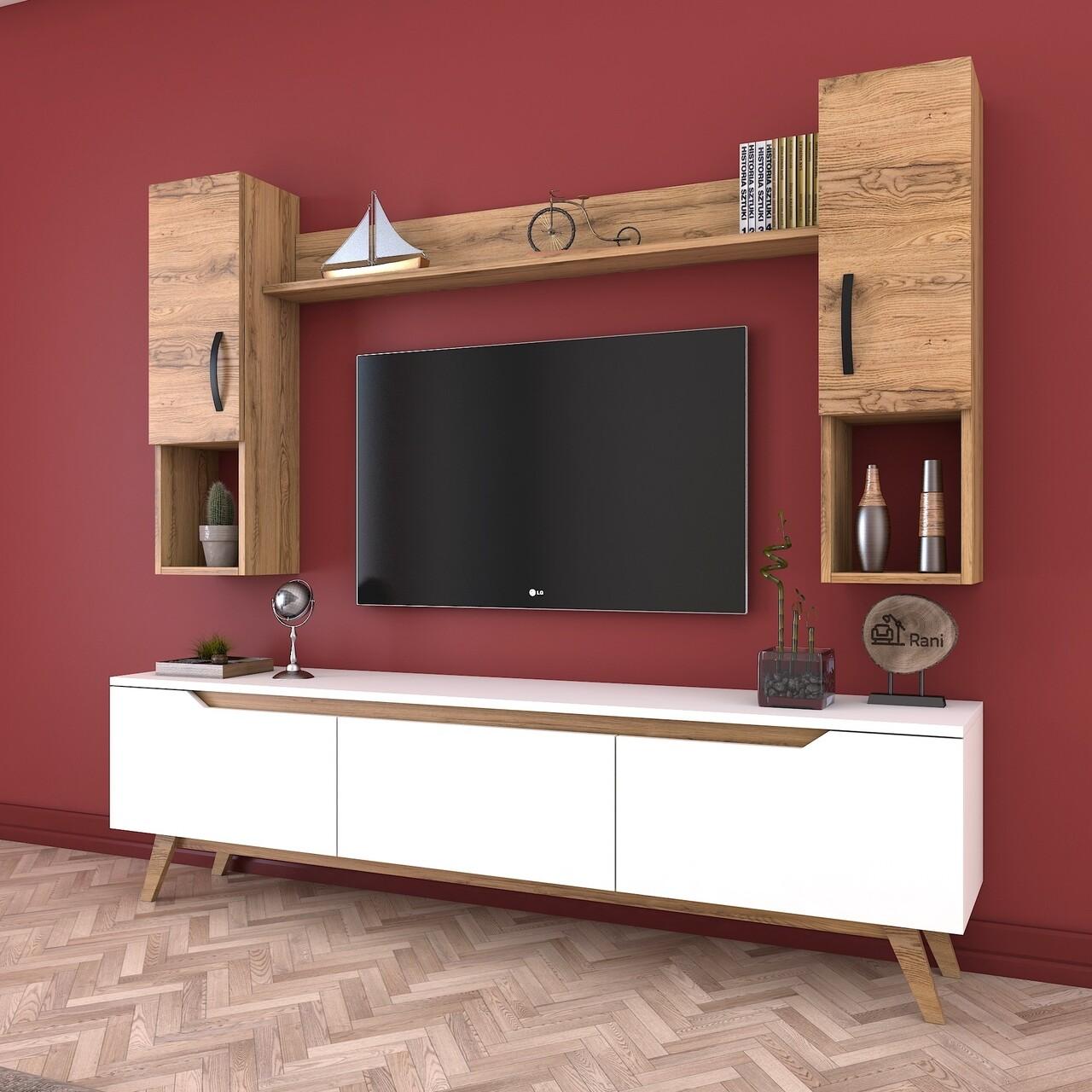 Comoda TV cu raft de perete si 2 cabinete M27 - 389, Wren, 180 x 35 x 48.6 cm/133 cm, white/walnut