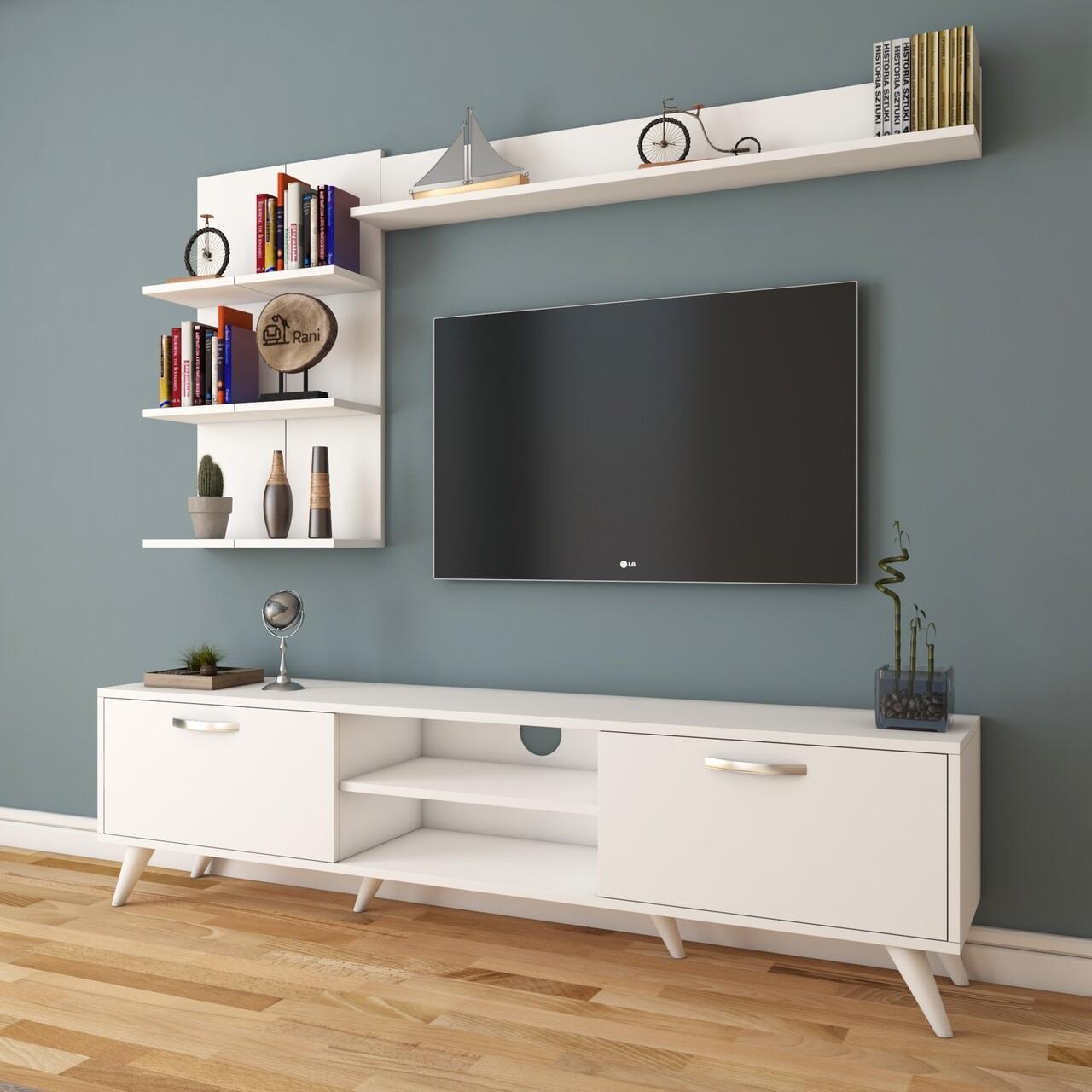 Comoda TV cu 3 rafturi de perete M41 - 310, Wren, 180 x 35 x 48.6 cm/90 cm/133 cm, white
