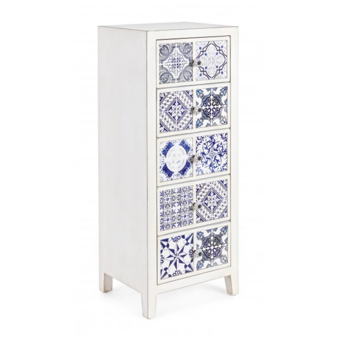 Comoda cu 5 sertare, Demetra, Bizzotto, 43x33x108 cm, lemn de brad/ceramica