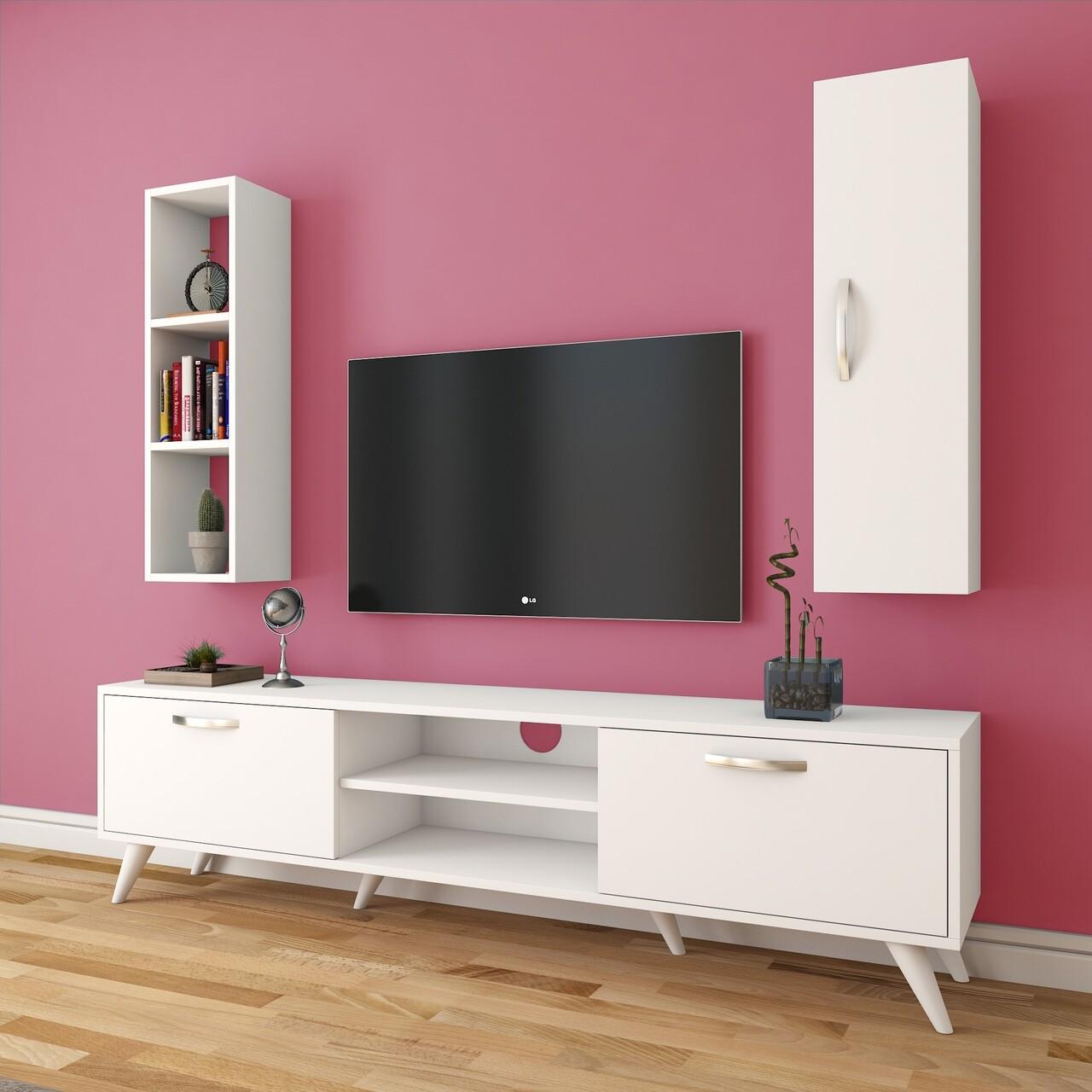 Comoda TV cu raft de perete si cabinet M10 - 249, Wren, 180 x 35 x 48.6 cm/90 cm, white