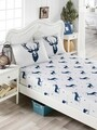 Set de pat dublu Geyik - Dark Blue, EnLora Home, 3 piese, 65% bumbac si 35% poliester, albastru