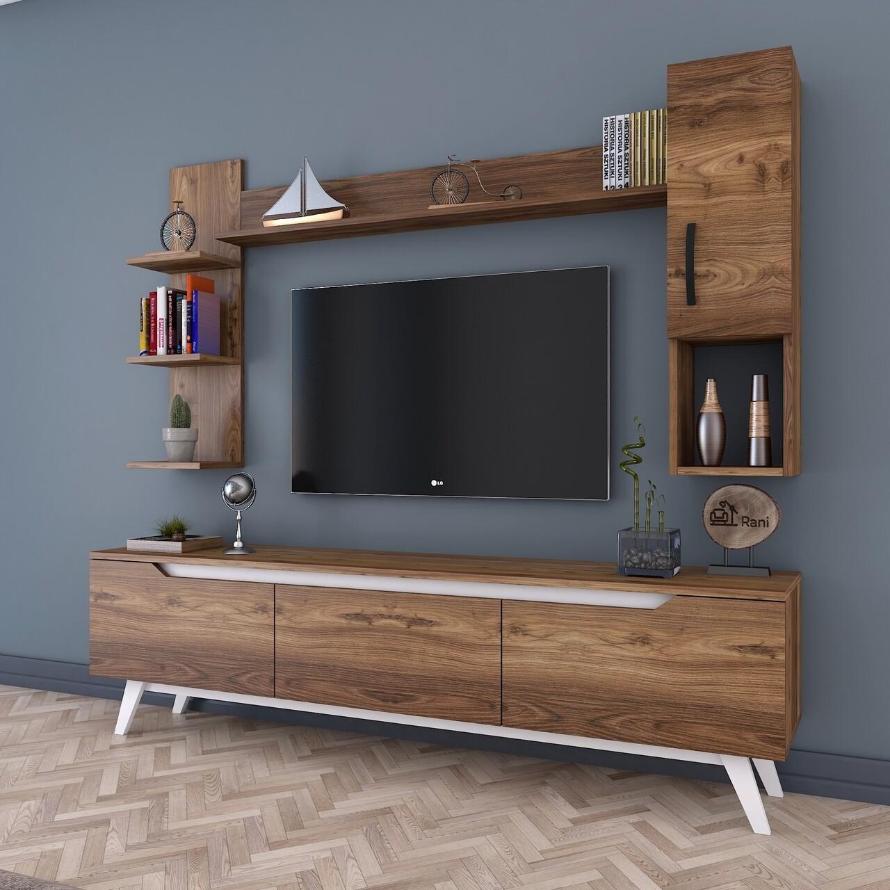Comoda TV cu 2 rafturi de perete si cabinet M25 - 844, Wren, 180 x 35 x 48.6 cm/90 cm/133 cm, walnut/white