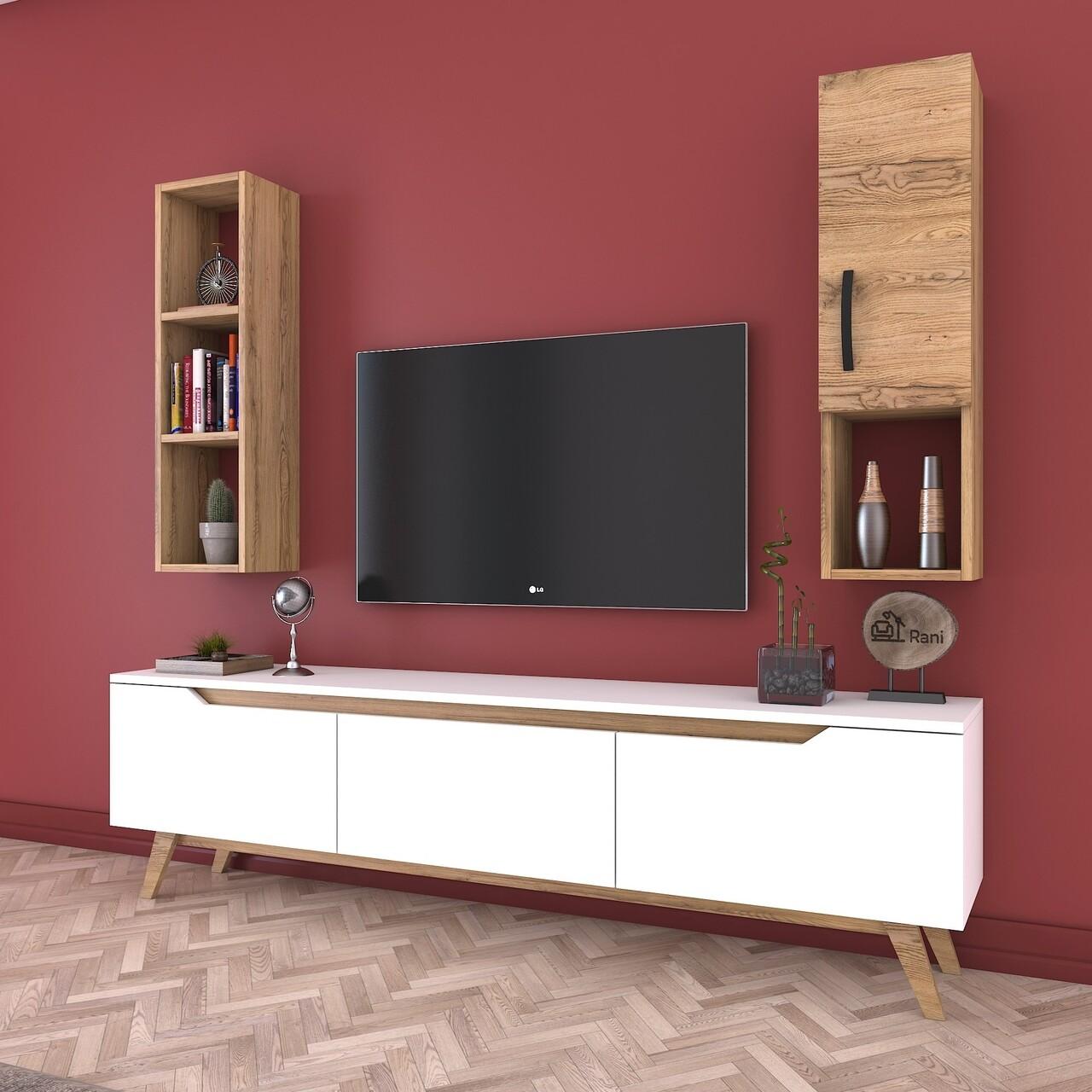 Comoda TV cu raft de perete si cabinet M11 - 410, Wren, 180 x 35 x 48.6 cm/90 cm, white/walnut