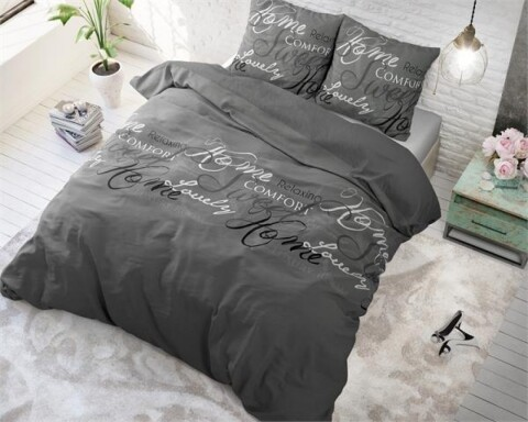 Lenjerie de pat pentru doua persoane Royal Luxury Grey, Royal Textile,100% bumbac