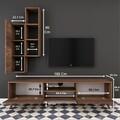 Comoda TV cu raft de perete si cabinet M1 - 227, Wren, 180 x 35 x 48.6 cm/90 cm, walnut
