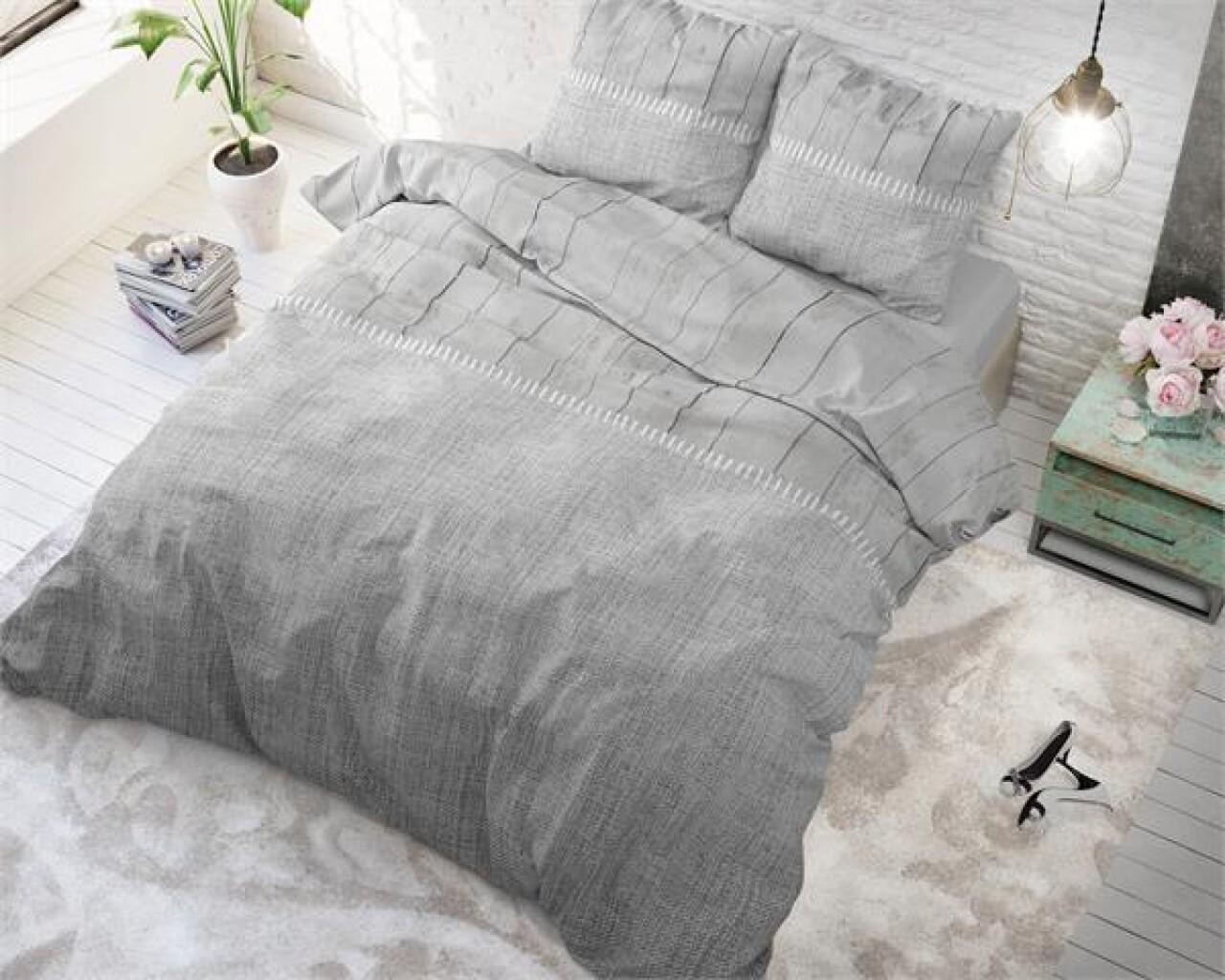 Lenjerie de pat pentru doua persoane Wood Fabric Grey, Royal Textile,100% bumbac