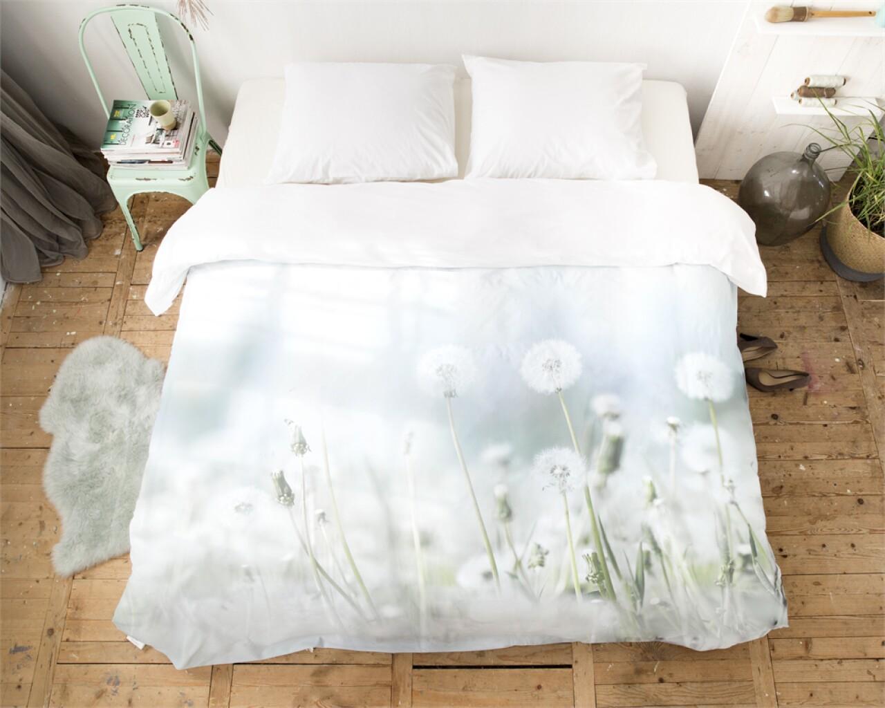 Lenjerie de pat pentru doua persoane Summer Morning Meadow Green, Royal Textile, 100% bumbac organic