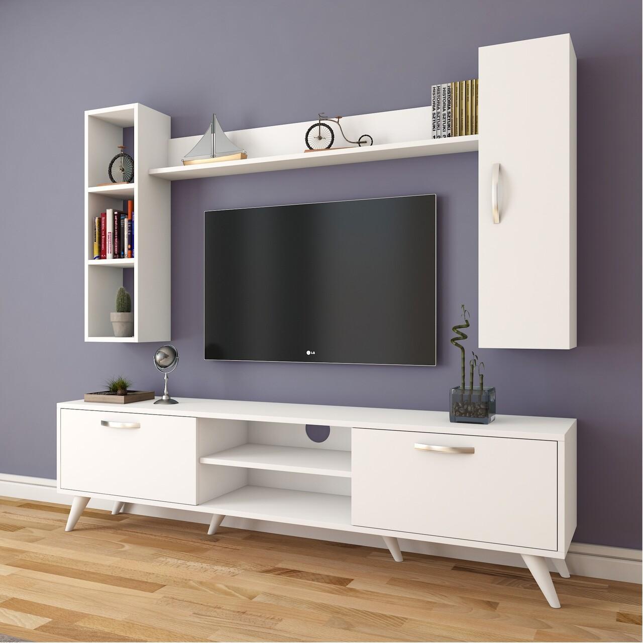 Comoda TV cu 2 rafturi de perete si cabinet M9 - 247, Wren, 180 x 35 x 48.6 cm/90 cm/133 cm, white