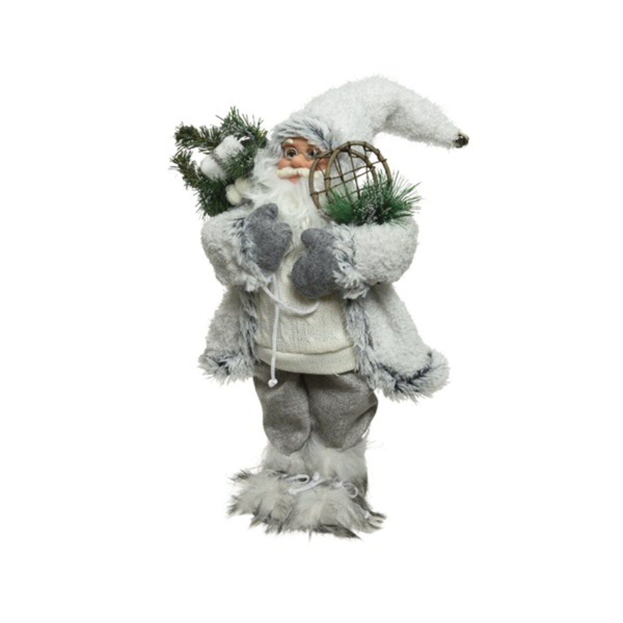Decoratiune Santa w snow shoes, Decoris, H30 cm, poliester, alb