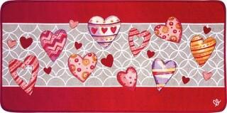 Covor pentru bucatarie, Olivio Tappeti, Carpet Queen 2, Love, 50 x 100 cm, 80% bumbac, 20% poliester, multicolor