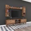 Comoda TV cu 2 rafturi de perete si cabinet M25 - 280, Wren, 180 x 35 x 48.6 cm/90 cm/133 cm, walnut