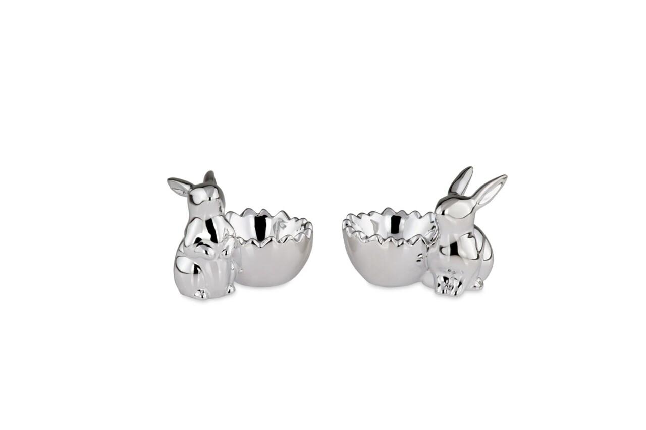 Set 2 suporturi pentru oua Rabbit, Hermann Bauer, portelan, argintiu
