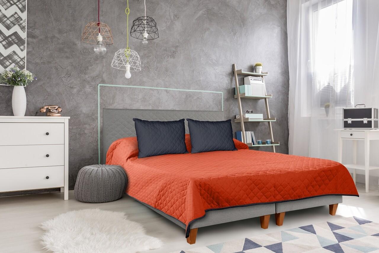 Cuvertura matlasata cu 2 fete Alcam, 210 x 220 cm, Bleumarin/Corai