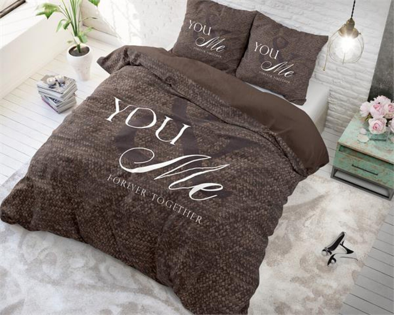 Lenjerie de pat pentru doua persoane Love for you and me Taupe, Royal Textile,100% bumbac
