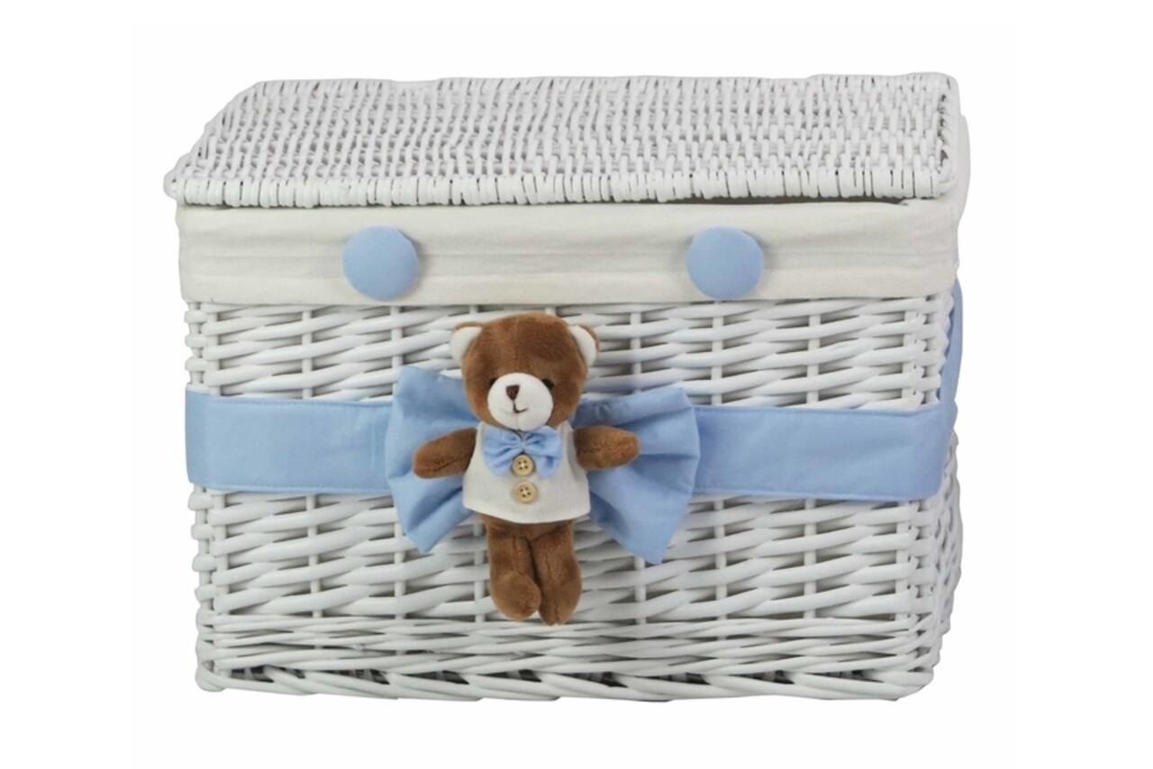 Cos M Blue Bear, Bedora, salcie/material textil, alb/bleu