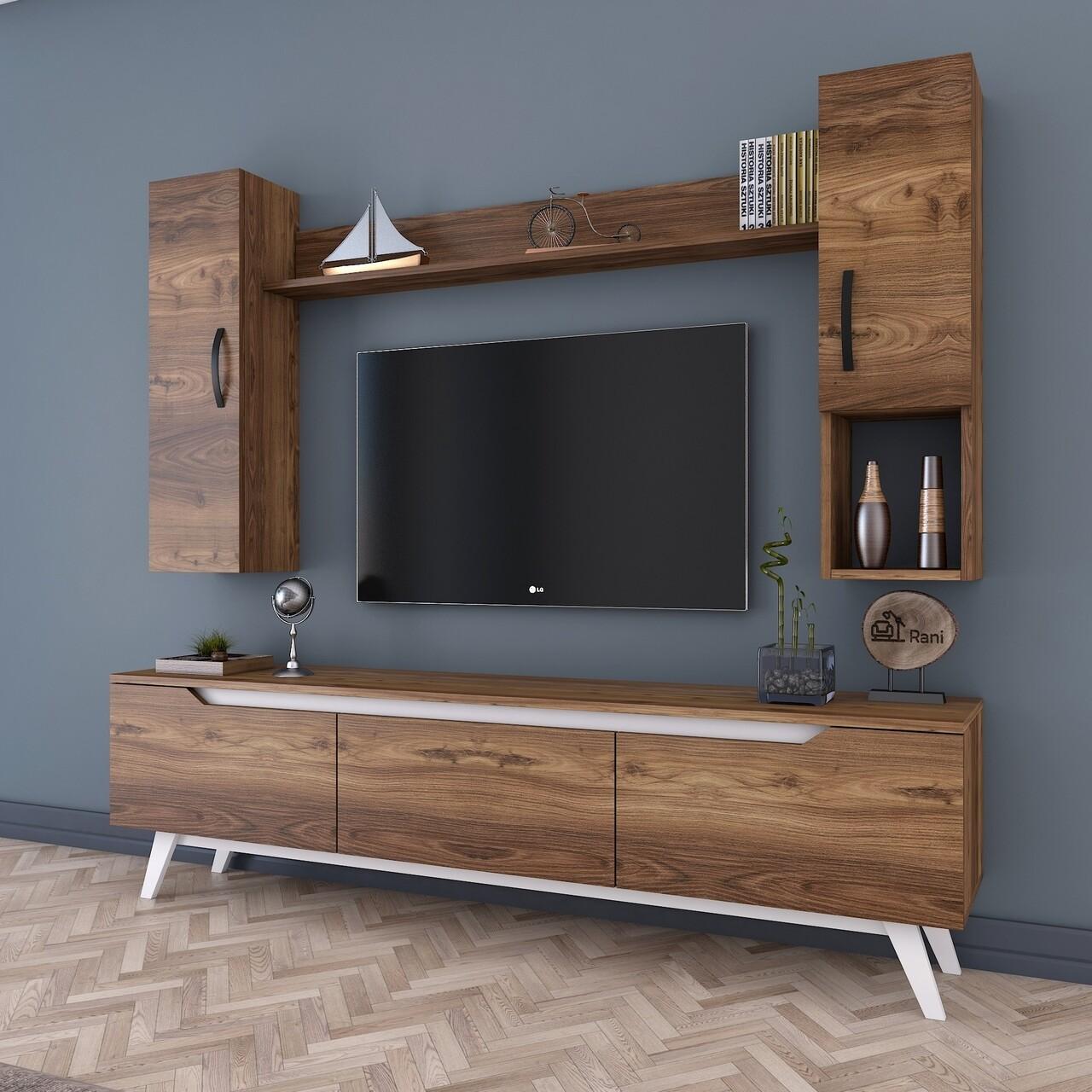 Comoda TV cu raft de perete si 2 cabinete M22 - 842, Wren, 180 x 35 x 48.6 cm/90 cm/133 cm, walnut/white