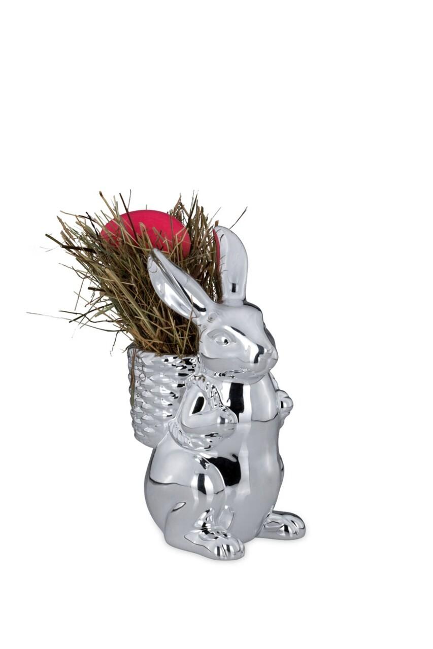 Suport pentru ou fiert Rabbit with Basket, Hermann Bauer,  15.5x15x26 cm, argintiu
