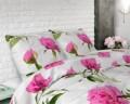 Lenjerie de pat pentru doua persoane Sunshine Flowers White, Sleeptime, Cotton Blended