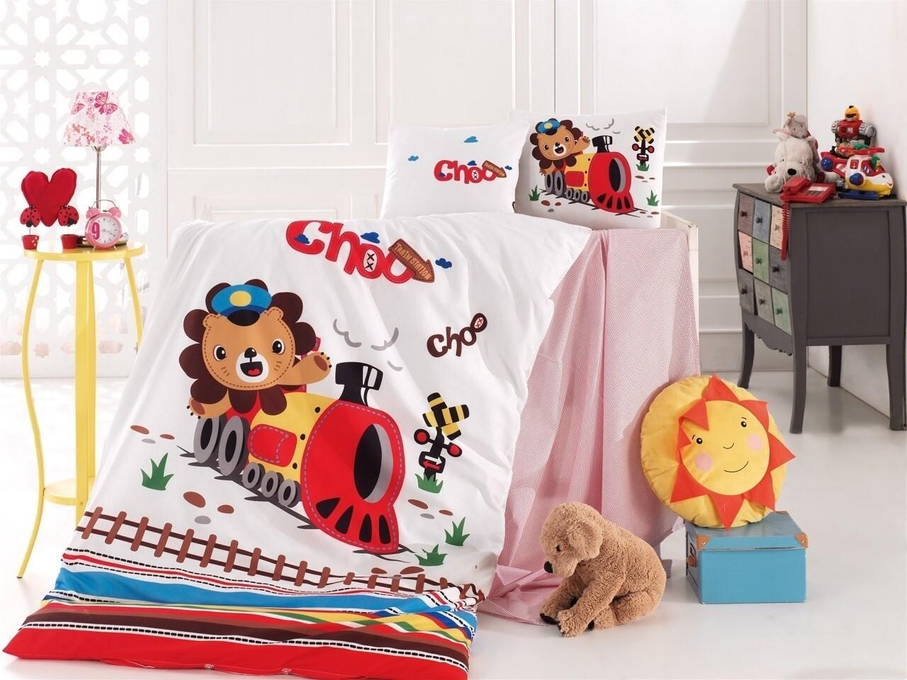 Lenjerie de pat pentru copii Train, Nazenin Home, 4 piese, 100% bumbac ranforce, multicolora
