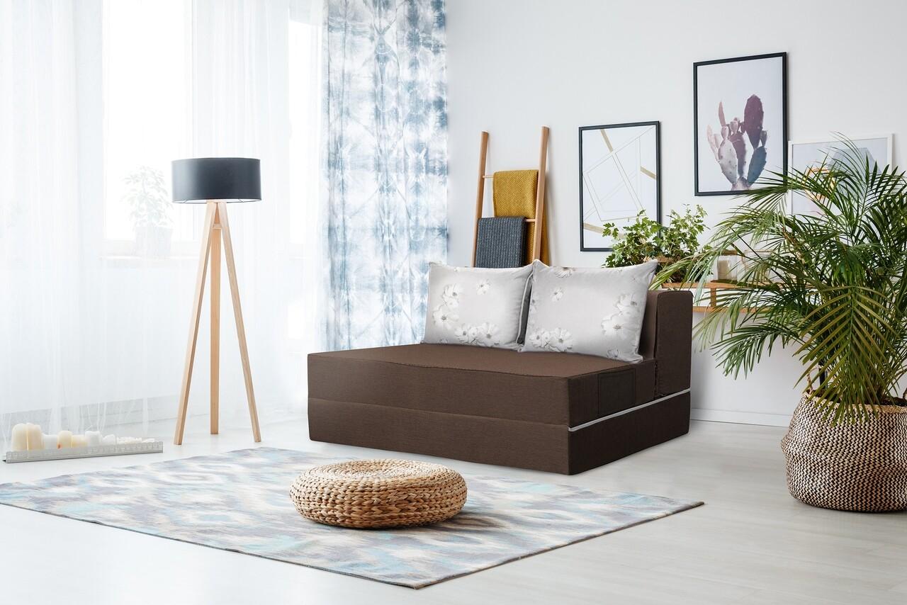 Canapea extensibila Urban Living Bedora 136x80x40 cm Dark Chocolate/ Daisies Flower