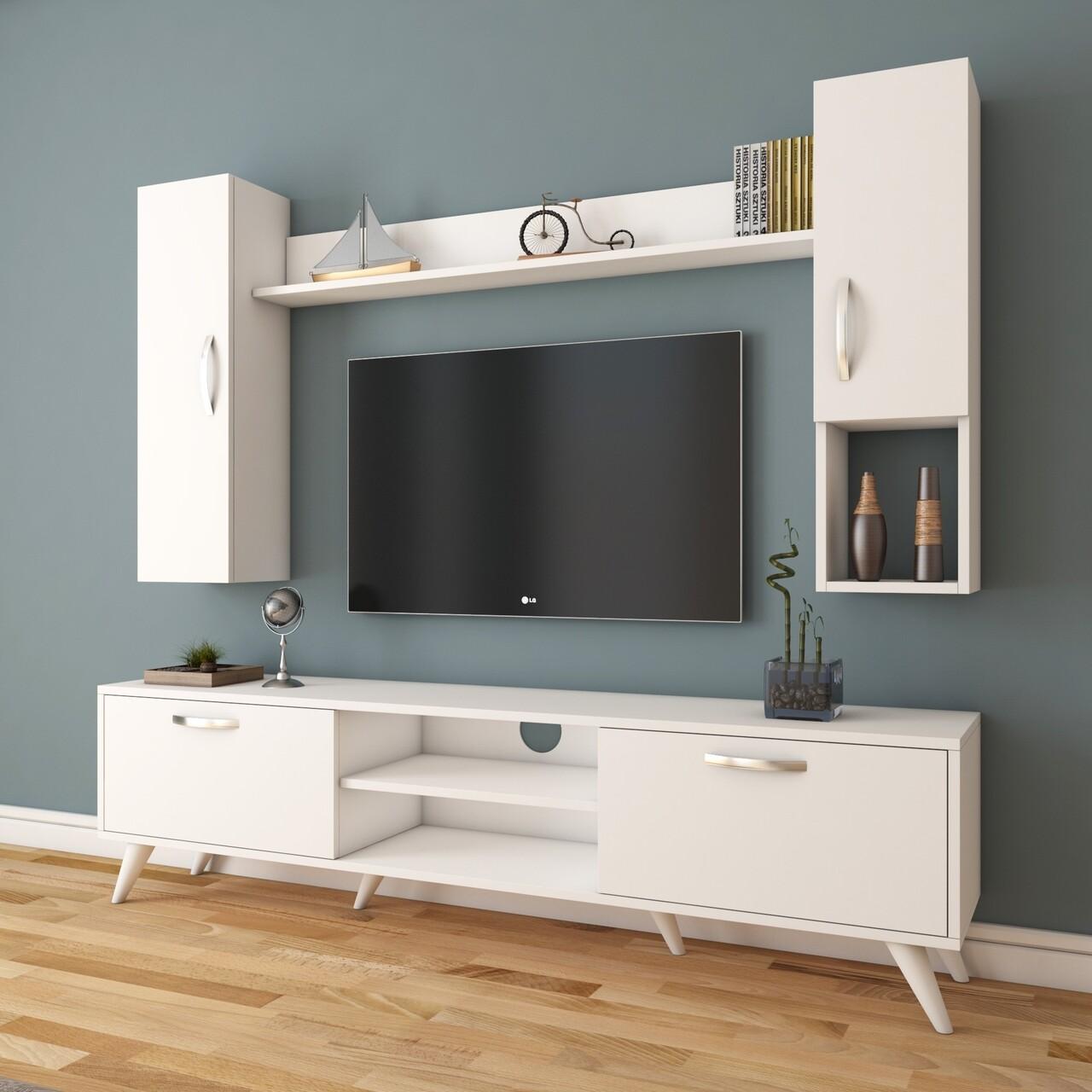 Comoda TV cu raft de perete si 2 cabinete M22 - 273, Wren, 180 x 35 x 48.6 cm/90 cm/133 cm, white