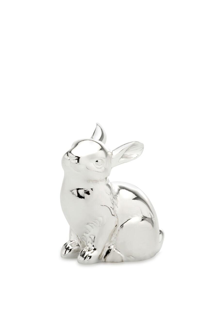 Decoratiune Cute Rabbit, Hermann Bauer, H9 cm, argintiu