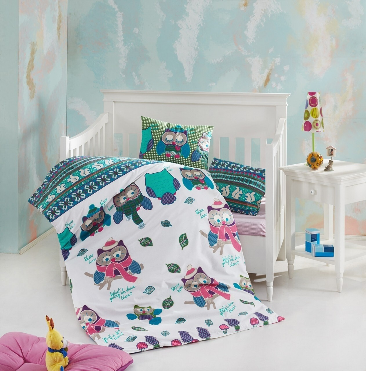 Lenjerie de pat pentru copii Guki, Nazenin Home, 4 piese, 100% bumbac ranforce, multicolora