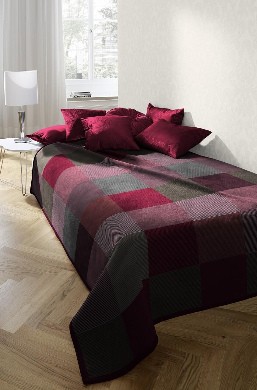 Patura Soft Melange Tweed, 150x200 cm, rosu/gri