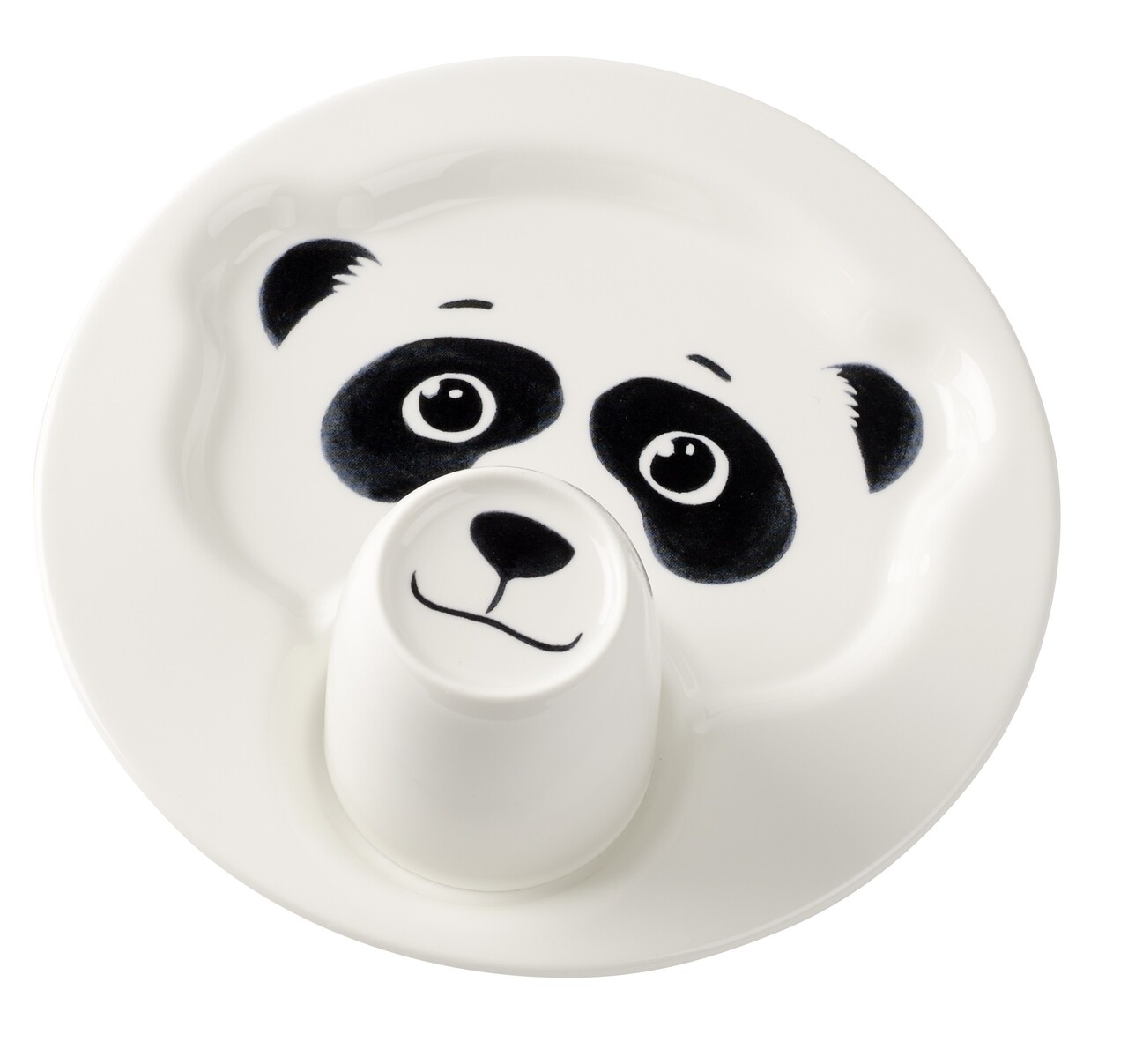 Set mic dejun copii 2 piese, Villeroy & Boch, Animal Friends Panda, Ø 22 cm/190 ml, portelan premium