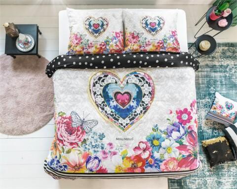 Lenjerie de pat pentru doua persoane Amira White, Melli Mello,100% bumbac satinat