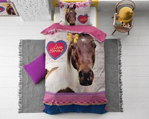 Lenjerie de pat pentru o persoana, Love Horse Pink, Dreamhouse, 2 piese, 100% bumbac