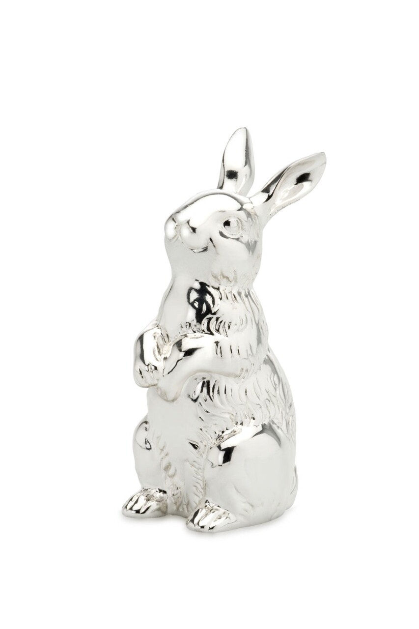 Decoratiune Cute Rabbit, Hermann Bauer, H12 cm, argintiu