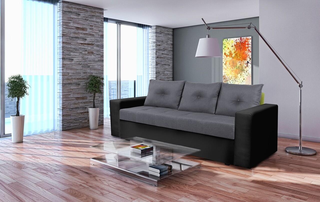 Canapea extensibila, Toledo, 226x90x86 cm, lada de depozitare, Gri/Antracit